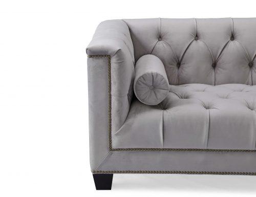 Liang & Eimil – Monroe 3 Seater Sofa – Fog Grey Velvet
