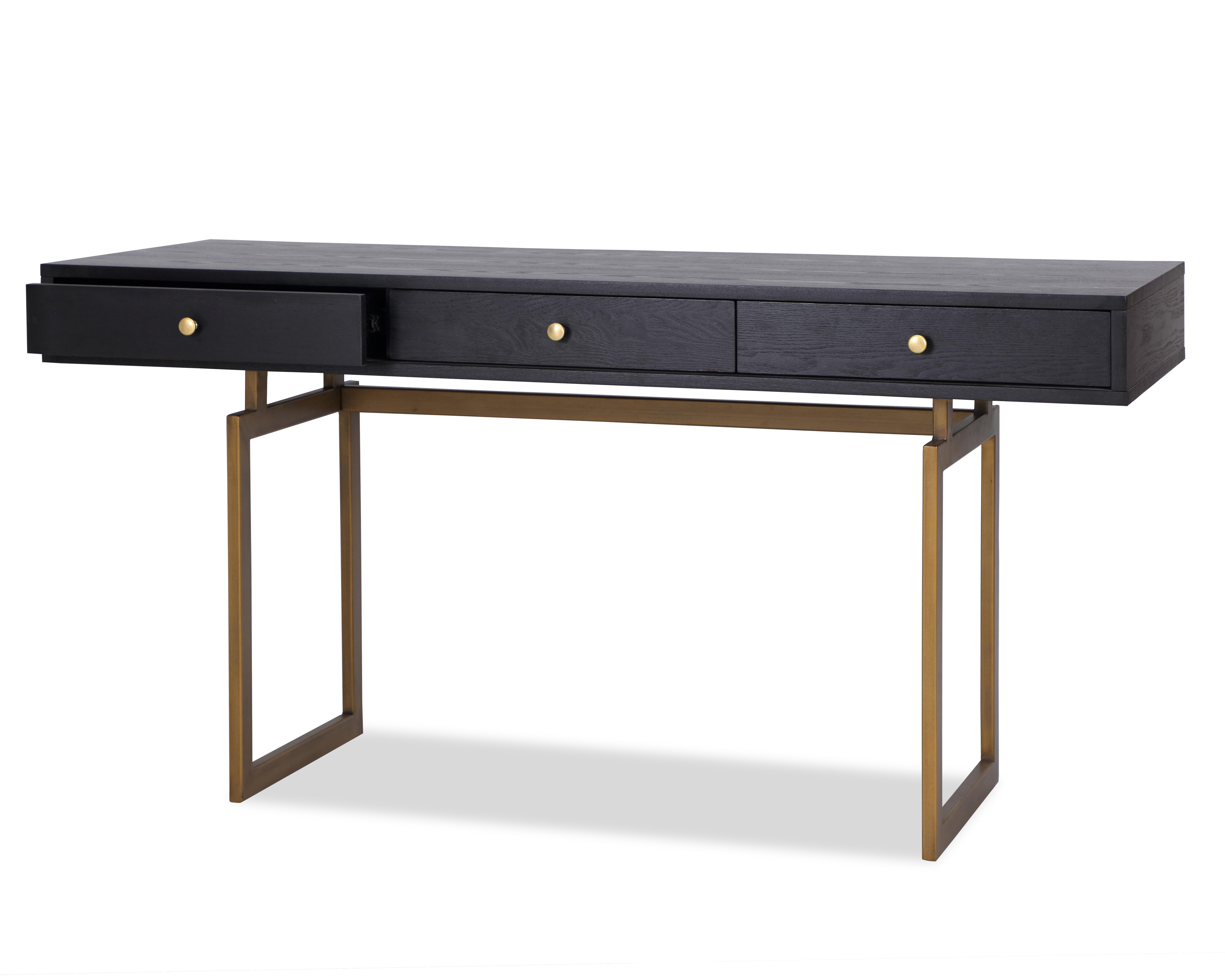 LE-Hamilton Desk Black Ash Venner & Brass Brush Painted (4)