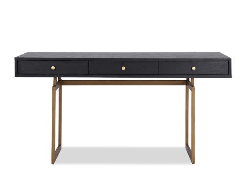 LE-Hamilton Desk Black Ash Venner & Brass Brush Painted