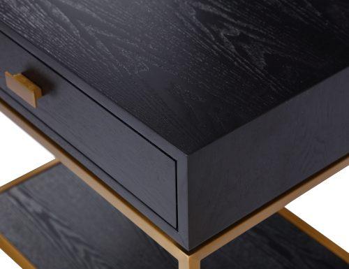 L&E Levi Bedside Tabel – Wenge Ash Veneer – Brass painted (1)