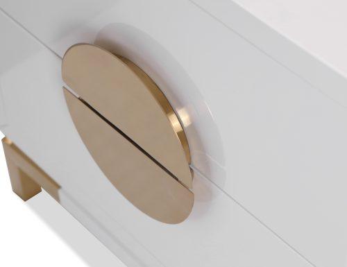 L&E Otium Bedside Table – White High Gloss – Champagne Gold (1)