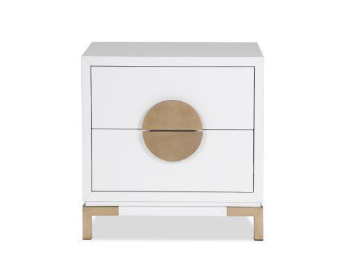 L&E Otium Bedside Table – White High Gloss – Champagne Gold (2)