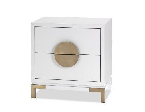 L&E Otium Bedside Table – White High Gloss – Champagne Gold (3)