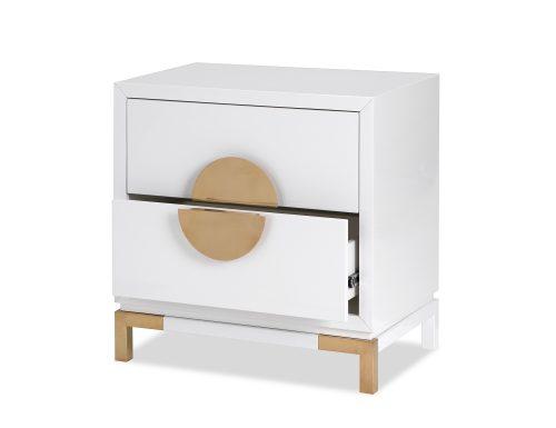 L&E Otium Bedside Table – White High Gloss – Champagne Gold (4)