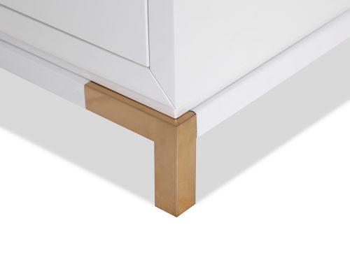 L&E Otium Bedside Table – White High Gloss – Champagne Gold (5)