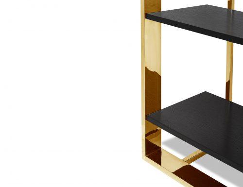 Liang & Eimil CB-SHL-101-BG Lennox Bookcase Polished Brass (5)